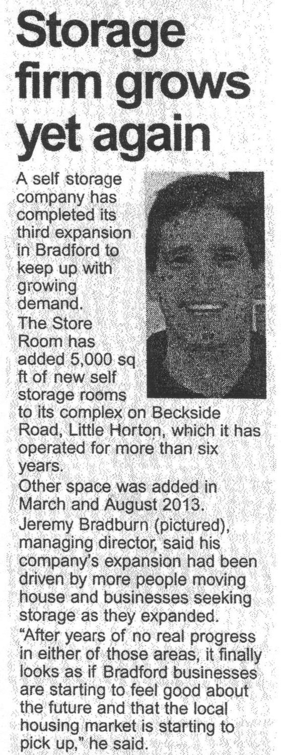 Telegraph & Argus news story about The Store Room expansion in Bradford