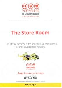 The Store Room Leeds Self Storage - Certificate from Yorkshire Air Ambulance