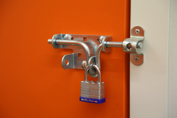 self storage door with padlock on at the store room