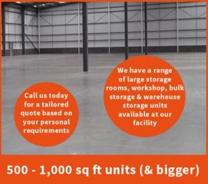 500 to 1000 sq ft storage space at The Store Room