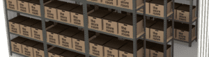 storage boxes on racking inside a self storage room