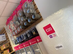 packaging items at the store room storage facility